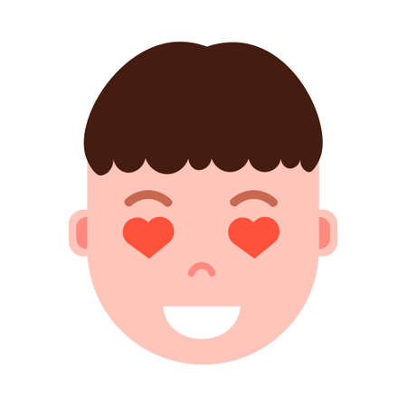 boy head emoji personage icon with facial emotions, avatar character, man heart in eyes face with different male emotions concept. flat design. vector illustration