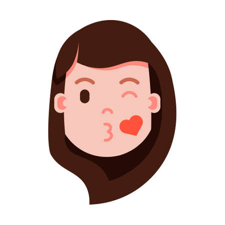 girl head emoji personage icon with facial emotions, avatar character, woman love face with different female emotions concept. flat design. vector illustration