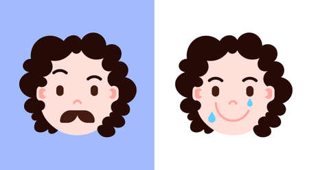 set girl head emoji personage icon with facial emotions, avatar character, mustache and smilling face with different female emotions concept. flat design. vector illustration