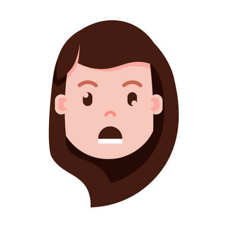 girl head emoji with facial emotions, avatar character, woman grieved face with different female emotions concept. flat design. vector illustration
