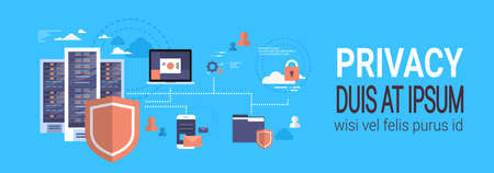Illustration pour GDPR isometric infographic data privacy on blue background network protection of personal storage General Data Protection Regulation concept banner copy space vector illustration - image libre de droit