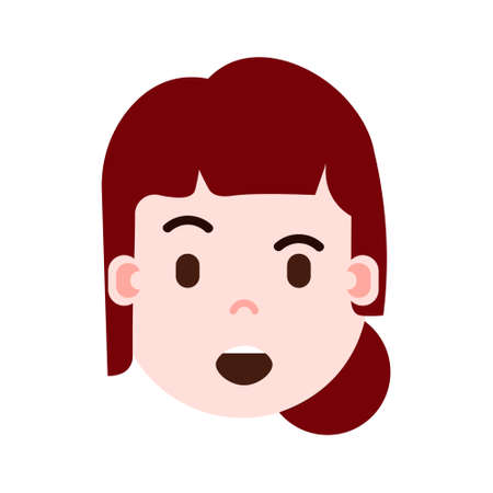 girl head emoji personage icon with facial emotions, avatar character, woman satisfied face with different female emotions concept. flat design. vector illustration