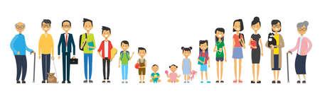 Ilustración de multi generation family on white background. Parents and grandparrents, teens and children, tree of genus happy family concept, flat cartoon design vector illustration - Imagen libre de derechos