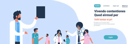 Illustration for group doctors stethoscope hospital communication diverse mix race medical workers blue background flat portrait copy space banner vector illustration - Royalty Free Image