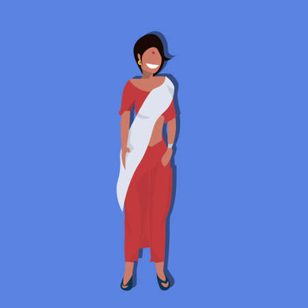 Indian Woman Bindi Standing In National Traditional Clothes Female Cartoon Character Full Length Flat Vector Illustration Royalty Free Vector Graphics