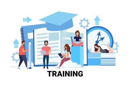 Illustration pour people group learning business courses training concept men women students online education studying process male female cartoon character flat horizontal vector illustration - image libre de droit