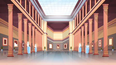 Illustration pour classic historic museum art gallery hall with columns and glass ceiling interior ancient exhibits and sculptures collection flat horizontal vector illustration - image libre de droit