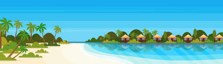 Illustration pour tropical island with villas bungalow hotel on beach seaside green palms landscape summer vacation concept flat horizontal banner vector illustration - image libre de droit