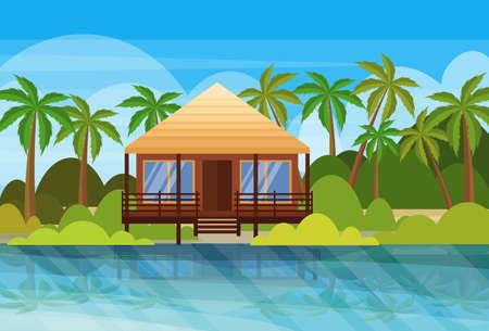 Illustration pour tropical island villa bungalow hotel on beach seaside green palms landscape summer vacation concept flat horizontal vector illustration - image libre de droit