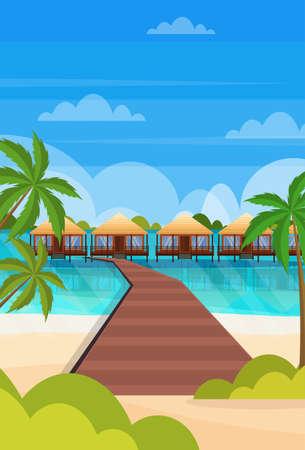 Illustration pour tropical island wooden path villa bungalow hotel on beach seaside green palms seascape summer vacation concept flat vertical vector illustration - image libre de droit