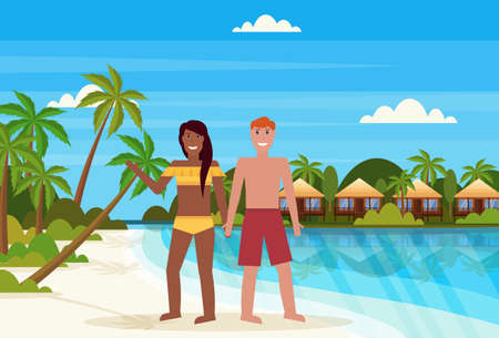 Illustration pour mix race couple on tropical island with villa bungalow hotel on beach seaside green palms landscape summer vacation concept flat horizontal vector illustration - image libre de droit