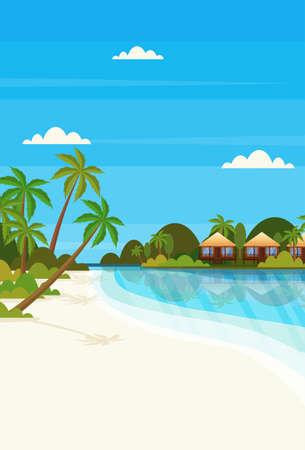 Illustration pour tropical island with villa bungalow hotel on beach seaside green palms landscape summer vacation concept flat vertical vector illustration - image libre de droit