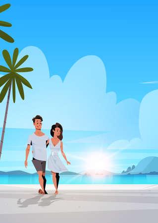 Illustration pour couple in love man woman embracing on tropical island sea beach sunrise seascape summer vacation concept landscape background full length flat vertical vector illustration - image libre de droit
