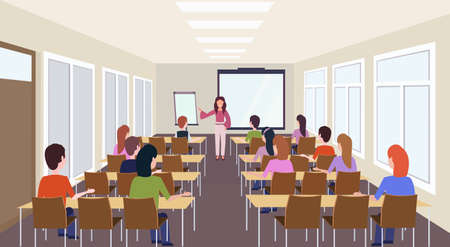 Illustration pour group of students listening female teacher training presentation modern meeting conference room interior lecture seminar hall education concept rear view horizontal vector illustration - image libre de droit