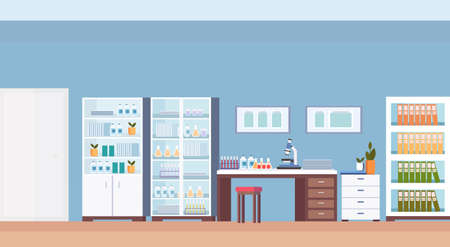 Illustration for hospital laboratory scientist workplace office furniture empty no people medical clinic lab interior horizontal flat vector illustration - Royalty Free Image