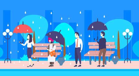 Illustration pour mix race businesspeople holding umbrella unprotected businessman under rain protection concept male female characters full length urban park cityscape flat horizontal vector illustration - image libre de droit