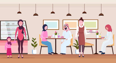 Illustration pour arabic people visitors sitting modern cafe shop waitress serving arab guests wearing traditional clothes bakery cafeteria interior cartoon characters full length flat horizontal vector illustration - image libre de droit