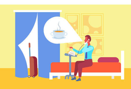 Illustration pour businessman thinking about coffee calling to reception making order guest sitting bed hotel room interior flat horizontal full length vector illustration - image libre de droit