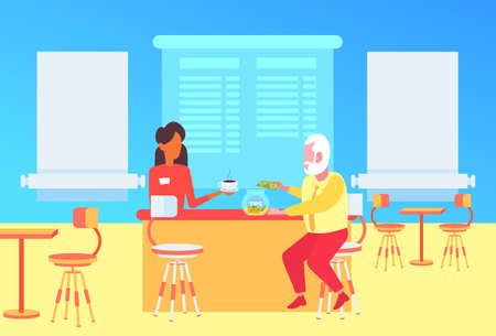 Illustration pour waitress serving customer over the counter at coffee shop senior man guest dropping dollar banknote into tips box modern cafe interior flat full length horizontal vector illustration - image libre de droit