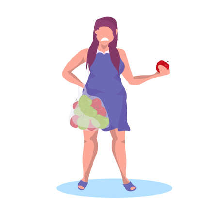 fat obese girl holding apple fruit sad unhappy woman eating fruits diet weight loss concept female cartoon character full length flat vector illustration