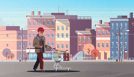 Illustration pour poor man pushing trolley cart with belongings beggar guy walking street begging for help homeless concept modern city buildings cityscape background horizontal full length vector illustration - image libre de droit