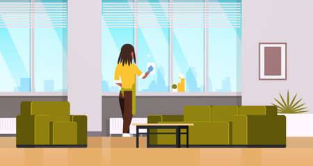 woman in gloves and apron cleaning windows with rag cleaner spray rear view african american housewife doing housework concept modern living room interior horizontal flat full length vector illustration