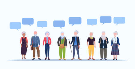 Illustration pour mature men women standing together chat bubble communication smiling senior gray haired mix race people wearing trendy clothes male female cartoon characters full length horizontal vector illustration - image libre de droit
