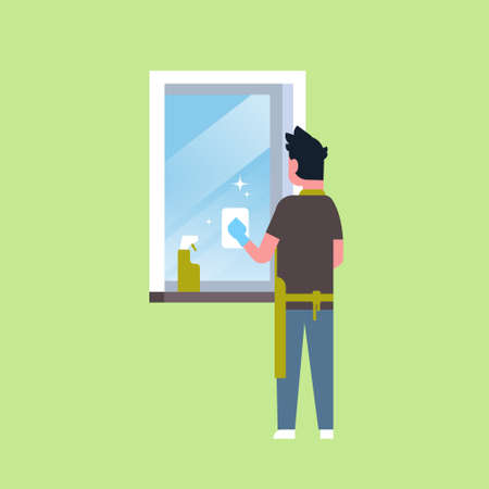 man in gloves and apron cleaning window with rag cleaner spray rear view guy doing housework concept flat male character full length vector illustration