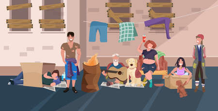Illustration pour beggars people group relaxing laying down and sleeping together on street homeless jobless concept flat full length horizontal vector illustration - image libre de droit