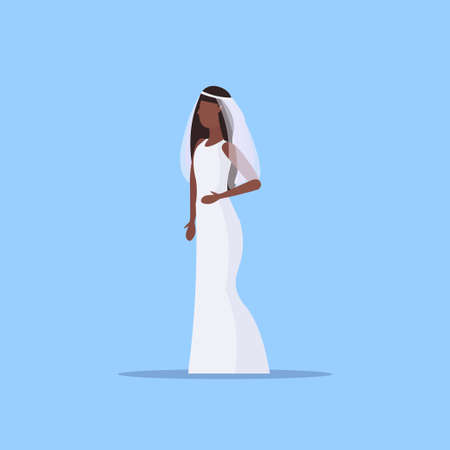 Illustration pour romantic bride in white dress african american girl in gown model standing pose wedding concept flat full length blue background vector illustration - image libre de droit
