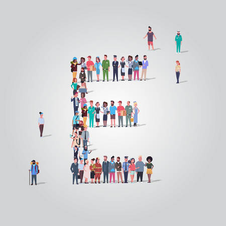 Foto für big people crowd gathering in shape letter E different occupation employees group standing together English alphabet concept full length vector illustration - Lizenzfreies Bild