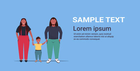 fat overweight family holding hands obese mother father and daughter standing together over size african american parents with child having fun full length flat horizontal copy space vector illustration