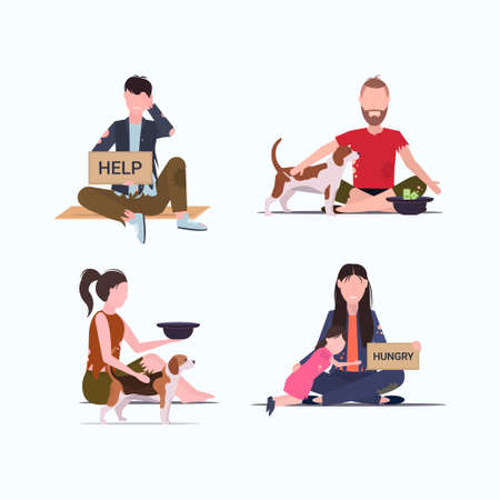 Illustration pour set tramps poor homeless characters needing money different beggars begging for help unemployment homeless jobless concepts collection flat full length vector illustration - image libre de droit