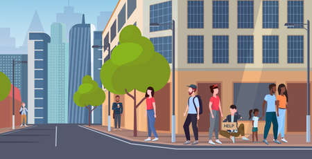 Illustration pour man beggar holding sign board with help text tramp sitting outdoor on city street begging for help homeless jobless concept cityscape background flat full length vector illustration - image libre de droit
