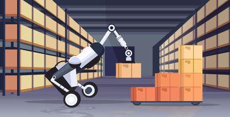 robotic worker loading cardboard boxes hi-tech smart factory robot artificial intelligence logistics automation technology concept modern warehouse interior flat horizontal vector illustration