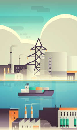Illustration pour cargo container ship in sea over factory building industrial zone plant with pipes nature pollution production technology dirty waste environment concept vertical flat vector illustration - image libre de droit