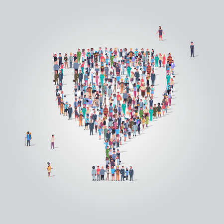 Illustration for big people group standing together in trophy cup shape crowd of different occupation employees first place championship victory concept full length vector illustration - Royalty Free Image