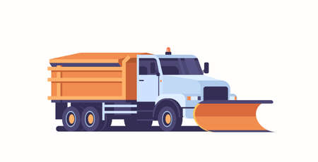 Illustration pour spreading salt on highway gritter snow plow truck icon professional cleaning road vehicle winter snow removal concept flat horizontal vector illustration - image libre de droit