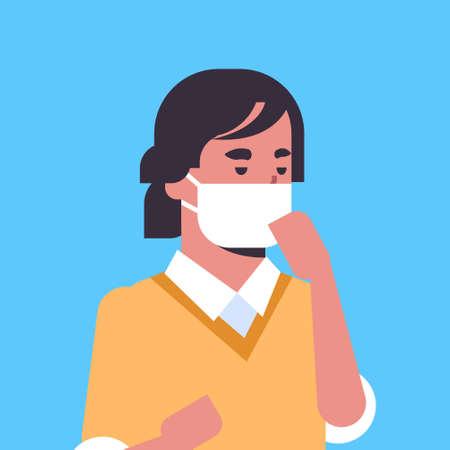 Ilustración de man wearing face mask environmental industrial smog dust toxic air pollution and virus protection concept male cartoon character portrait flat vector illustration - Imagen libre de derechos