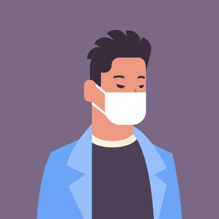 Illustration pour man wearing face mask environmental industrial smog dust toxic air pollution and virus protection concept male cartoon character portrait flat vector illustration - image libre de droit