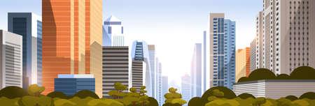 Illustration pour beautifil city on sunset panorama skyline high skyscrapers modern cityscape background flat horizontal vector illustration - image libre de droit