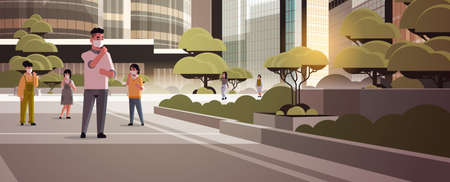 Illustration pour people wearing face masks environmental industrial smog dust toxic air pollution and virus protection concept men women walking outdoor city building cityscape background full length horizontal vector illustration - image libre de droit