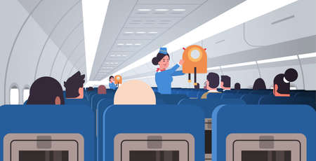 Illustration for stewardess flight attendant explaining for passengers how to use jacket life vest in emergency situation safety demonstration concept modern airplane board interior horizontal flat vector illustration - Royalty Free Image