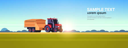 Illustration pour tractor with trailer heavy machinery working in field smart farming modern technology organization of harvesting concept sunset landscape background flat horizontal copy space vector illustration - image libre de droit