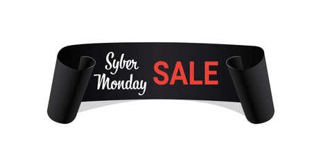 Illustration pour black curved banner cyber monday sale concept ribbon shape holiday shopping horizontal vector illustration - image libre de droit