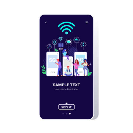 Illustration pour people using digital gadgets 5G online wireless system connection fifth innovative generation of internet full length smartphone screen copy space vector illustration - image libre de droit