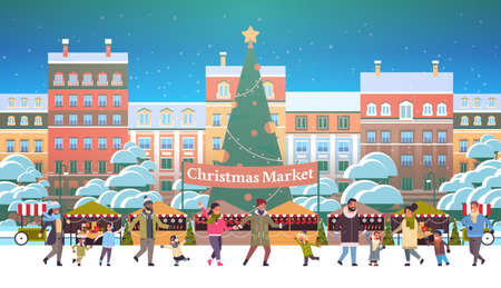 Illustration for christmas market or holiday outdoor fair with decorated fir tree mix race people walking near stalls merry xmas new year winter holidays celebration concept modern cityscape background horizontal vector illustration - Royalty Free Image