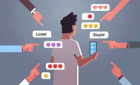 Illustration pour teenager being bullied guy using online mobile chat application social media harassment trolling cyber bullying concept insulting messages on smartphone screen rear view portrait flat horizontal vector illustration - image libre de droit