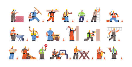 Illustration for set male builders with professional equipment during different building activity busy construction workmen in uniform flat full length horizontal vector illustration - Royalty Free Image