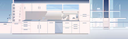 Illustration for modern lab interior empty no people chemical laboratory with furniture horizontal vector illustration - Royalty Free Image